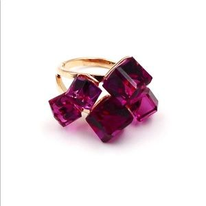 Noble purple square crystal ring